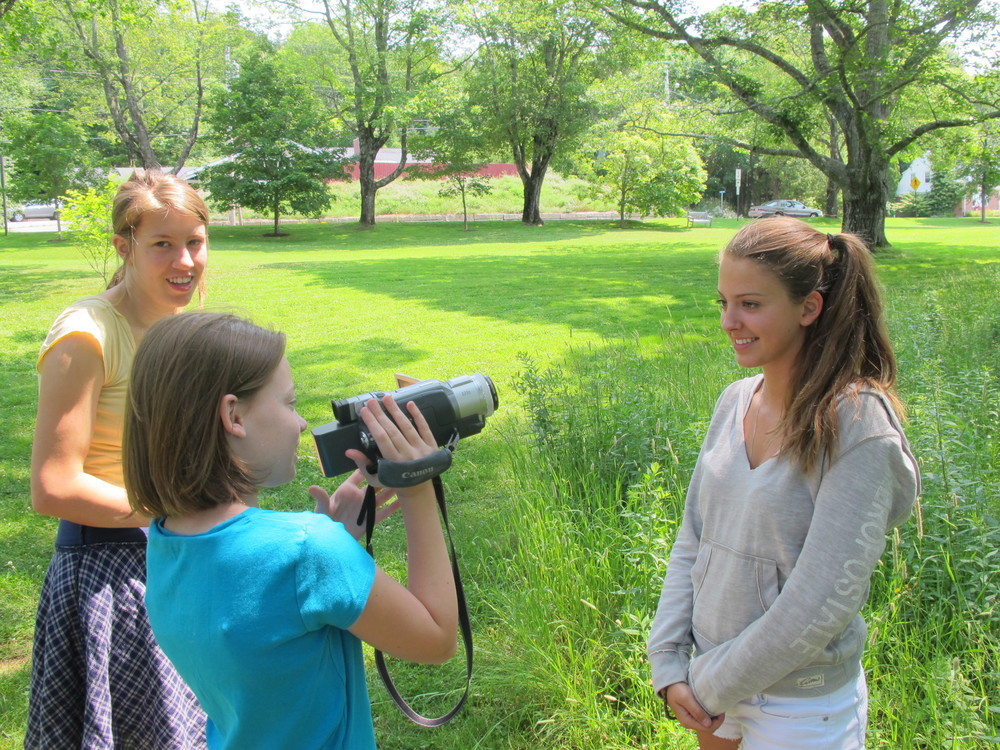 Our Wednesday-morning Earth News kid-reporter program has begun. Last week we went to the green in Seal Harbor to shoot video segments on bees, bugs, and each other.