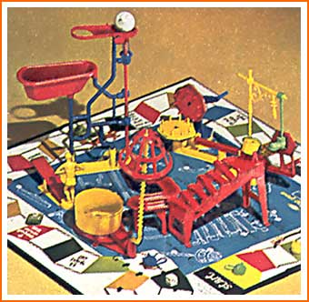 Rube Goldberg inspired Mousetrap, one of my favorite games as a kid (perhaps a telling commentary on how my brain works).