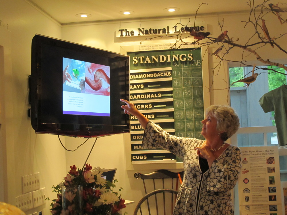 At our book signing and kickoff party on Friday night, author Judy Paolini gave a terrific talk on the 24 New England artists whose gardens she and photographer Nance Trueworthy explored in The Inspired Garden. Note in the background that the Arizona Diamondbacks are currently atop the standings of The Natural League—the group of nine major league baseball teams with names taken from nature.
