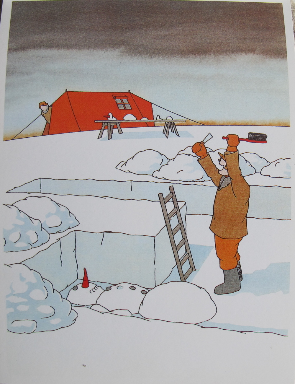 Look! I've discovered homo Frosty-cus! Where archaeology meets the Weather Channel, you get...a postcard by Czech cartoonist Miroslav Bartak. I have a small collection of them because I enjoy his Gary Larson sensibility. Bartak, now in his 70s, is a former seaman who decided to go ashore at age 30 and follow a childhood passion that his less artistically minded parents hadn't let him pursue. Good move.