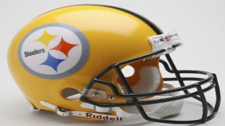 The Steelers have occasionally used this yellow helmet instead of their usual black one; of the three stars of color in the logo, yellow represents coal, orange represents iron ore and blue represents steel scrap.