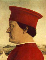 In this painting by Piero della Francesa, Federico da Montebeltro might be described as a pileated Italian.