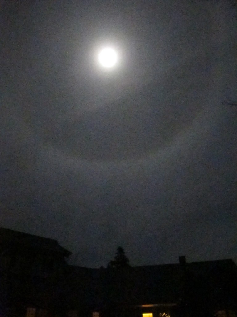 Last week's moon ring (visible over our house) did indeed herald snow and sleet, as folk wisdom would have told you. Moon rings are caused by ice crystals in thin clouds about 20,000 feet off the ground. The rings are made of refracted moonlight, or perhaps I should say reflected and refracted sunlight—after all, what do you think lights up the moon?