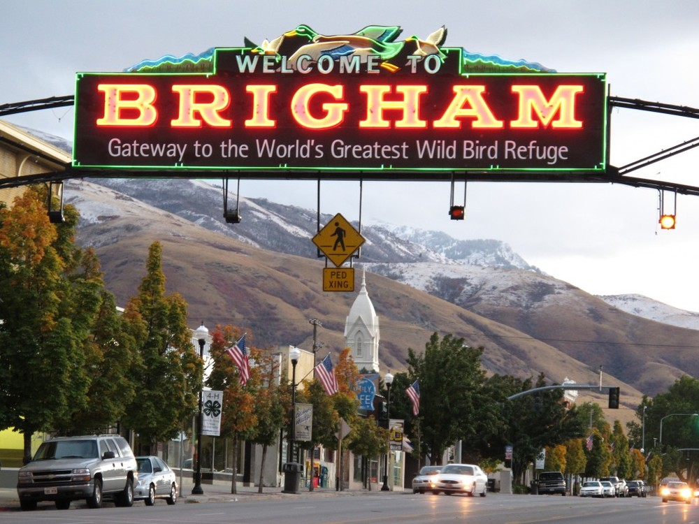 Brigham City welcomes visitors with a Main Street declaration of its birding heritage.