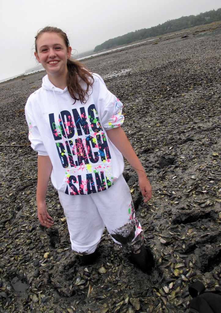 Back in the summer of 2009, Sarah (and Pamelia and our god-daughter Lily) got stuck in the mud while trying to cross to Alley Island via a mucky mussel bed. Bad day to wear white!