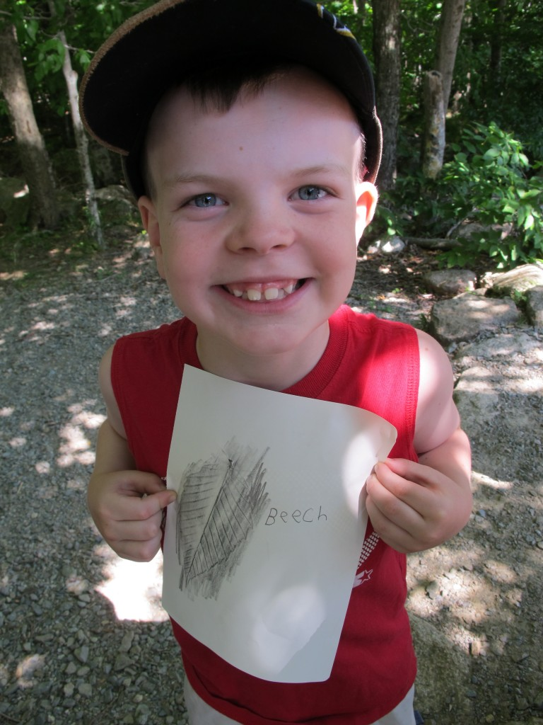 On the hike, we showed this young guy how to do a rubbing of a beech leaf—and he was electrified. Everyone in the group kept a notebook in which he or she sketched, took notes, did rubbings or—later on—put photographs.