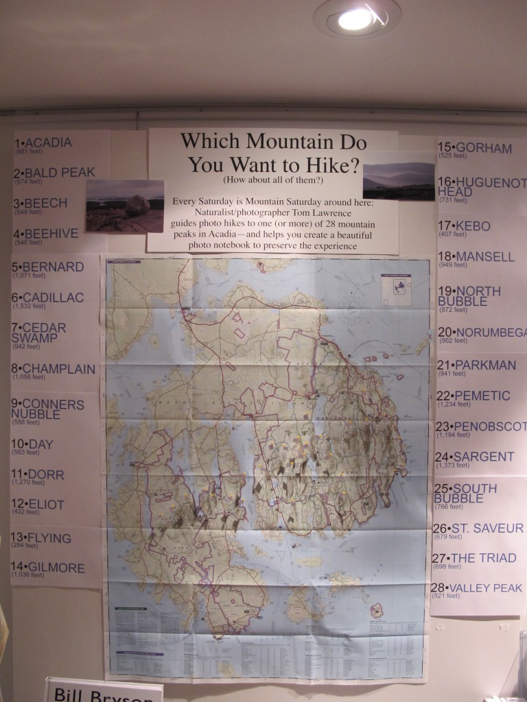 Our Acadia map board offers guidance on where to climb and hike.