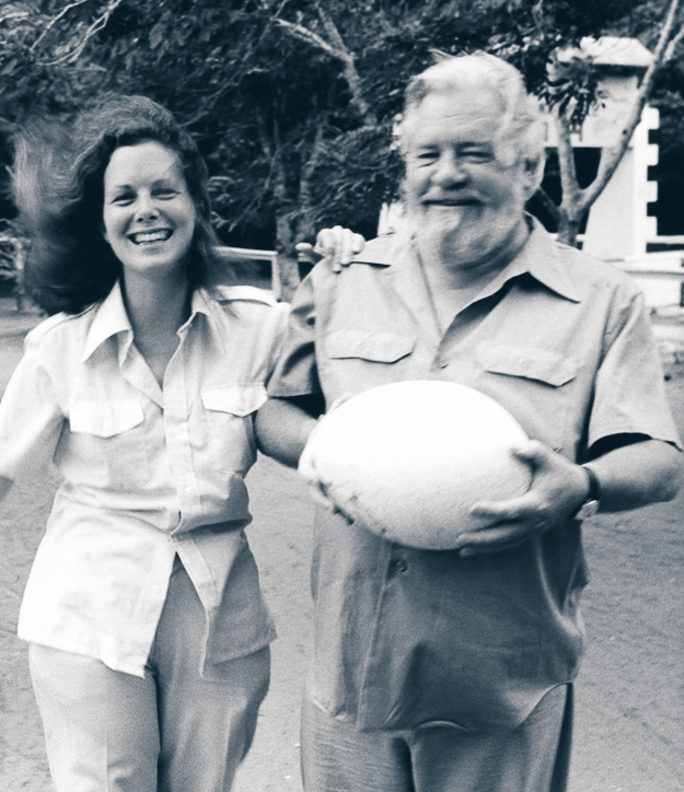 LEE DURRELL , naturalist, author and conservationist, and husband  GERALD DURRELL  (1925-95), one of Britain's most beloved naturalists, zoologists, television nature hosts and authors; founders of the Jersey Wildlife Trust
