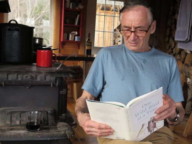 Bernd at his cabin in western Maine right after he received his hot-off-the-presses first copy of the book.