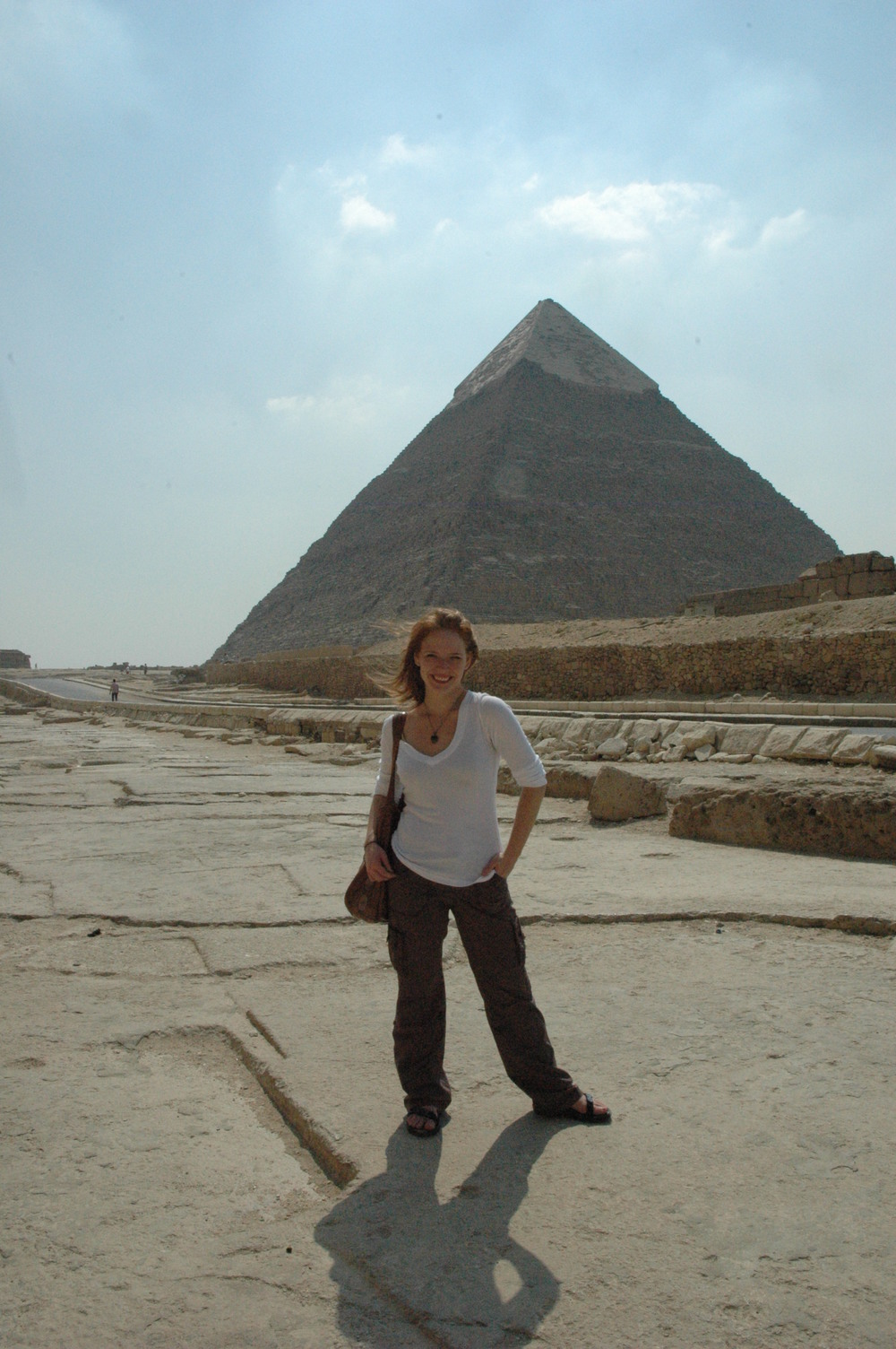 Visiting the pyramids at Giza, Egypt.
