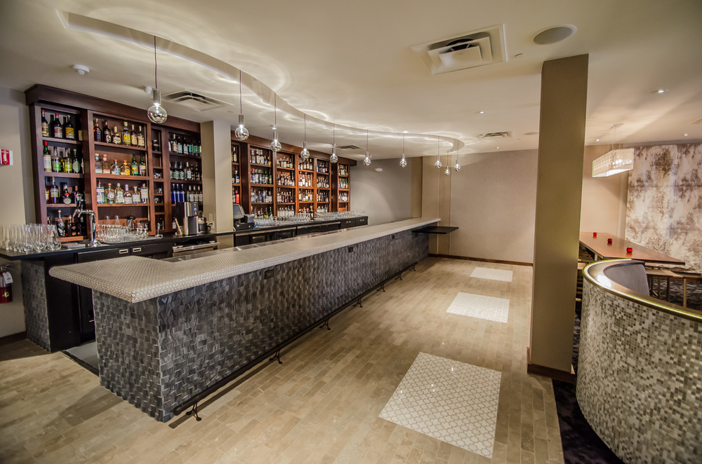 Interior Restaurant Design Bay Area- Cadence Restaurant 1446 Market St. - Stone and Marble Floor, Stone and Tile Bar, Serpentine Pendant Soffit