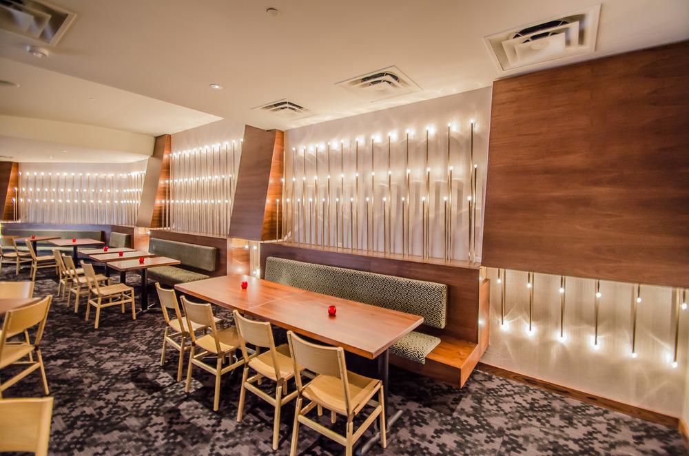 Interior Design San Francisco Custom Banquettes and Custom Light Fixtures - Cadence Restaurant