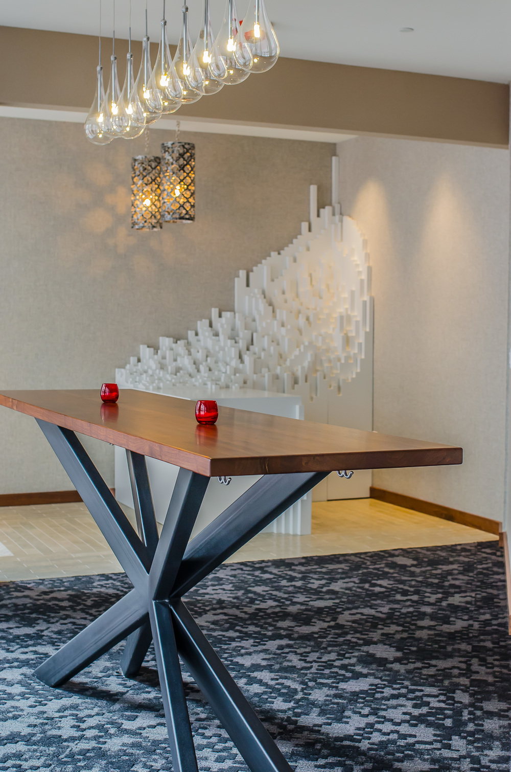 Restaurant Design San Francisco Bay Area - Cadence Restaurant - Custom Standing Table Custom Sculpture Host Desk