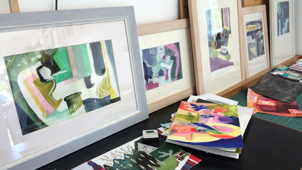 Framed abstract watercolours by students in Observation to Abstraction workshops 2016