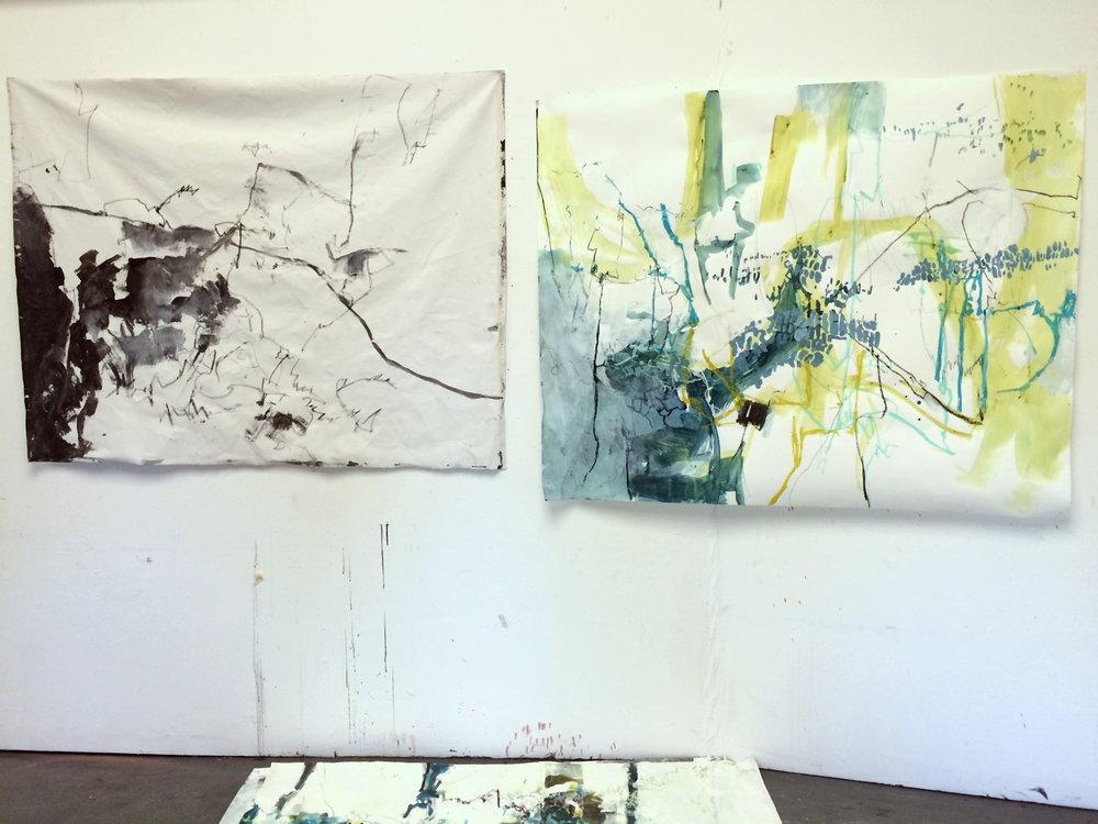 Studio wall: work in progress (left).  Soundscape 2  (right).