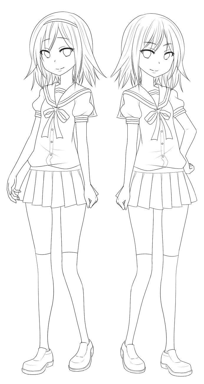 Hikari and Kurotsuki lineart (WIP)