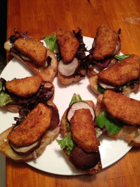 Eggplant, portabello & arugula  on grilled bread with a mushroom jus.