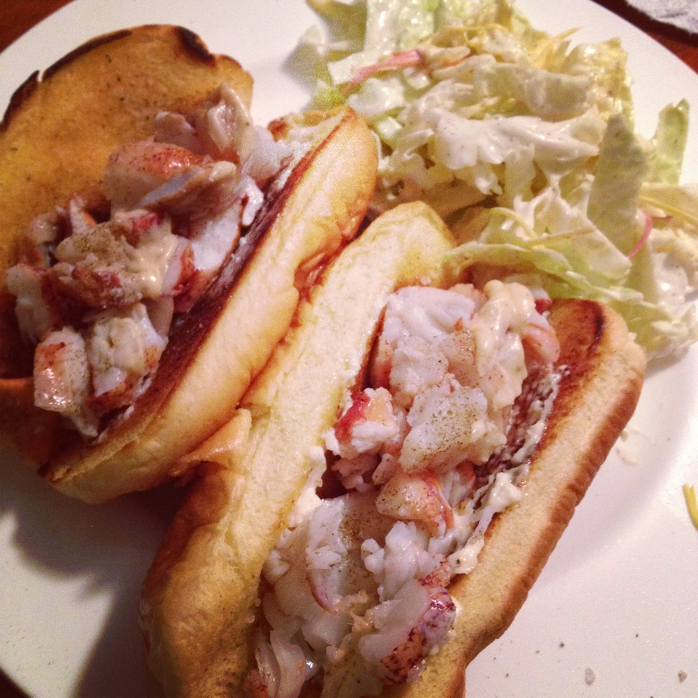 Crab & Lobster Roll with a side of Napa    Slaw