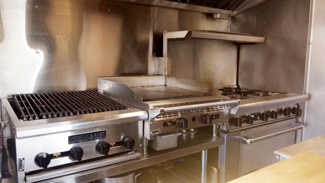 Char-broiler, flattop grill and a six burner. Everything we need to get the job done.