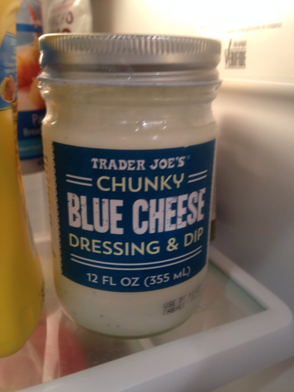 Jar of Trader Joe's Chunky Blue Cheese Dressing, relaxing in refrigerator, Satuday night, San Francisco, Dec. 3, 2016.