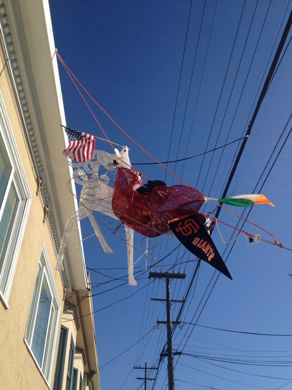 Decorations along Balboa Street between 33rd and 34th Avenues, San Francisco, 11 a.m., December 26, 2016