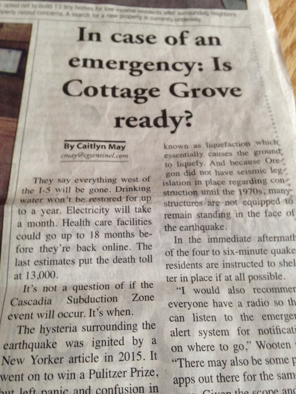 News article, The Cottage Grove Sentinel (Oregon), March 3, 2017.