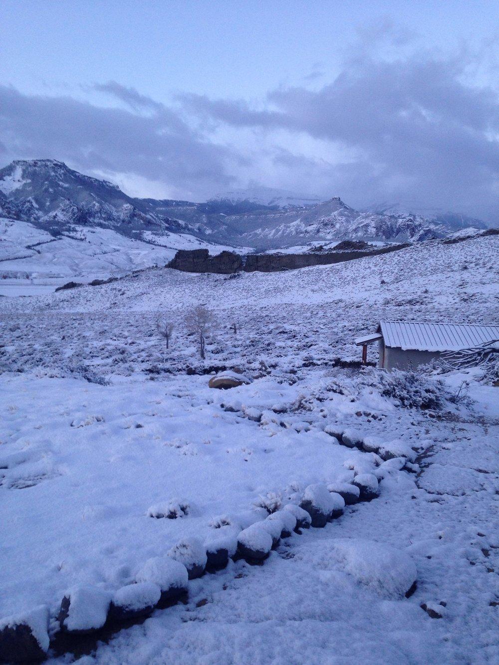 Ptarmigan Mountain, Wapiti, Wyoming, April 2, 2017, writer's cabin in foreground.