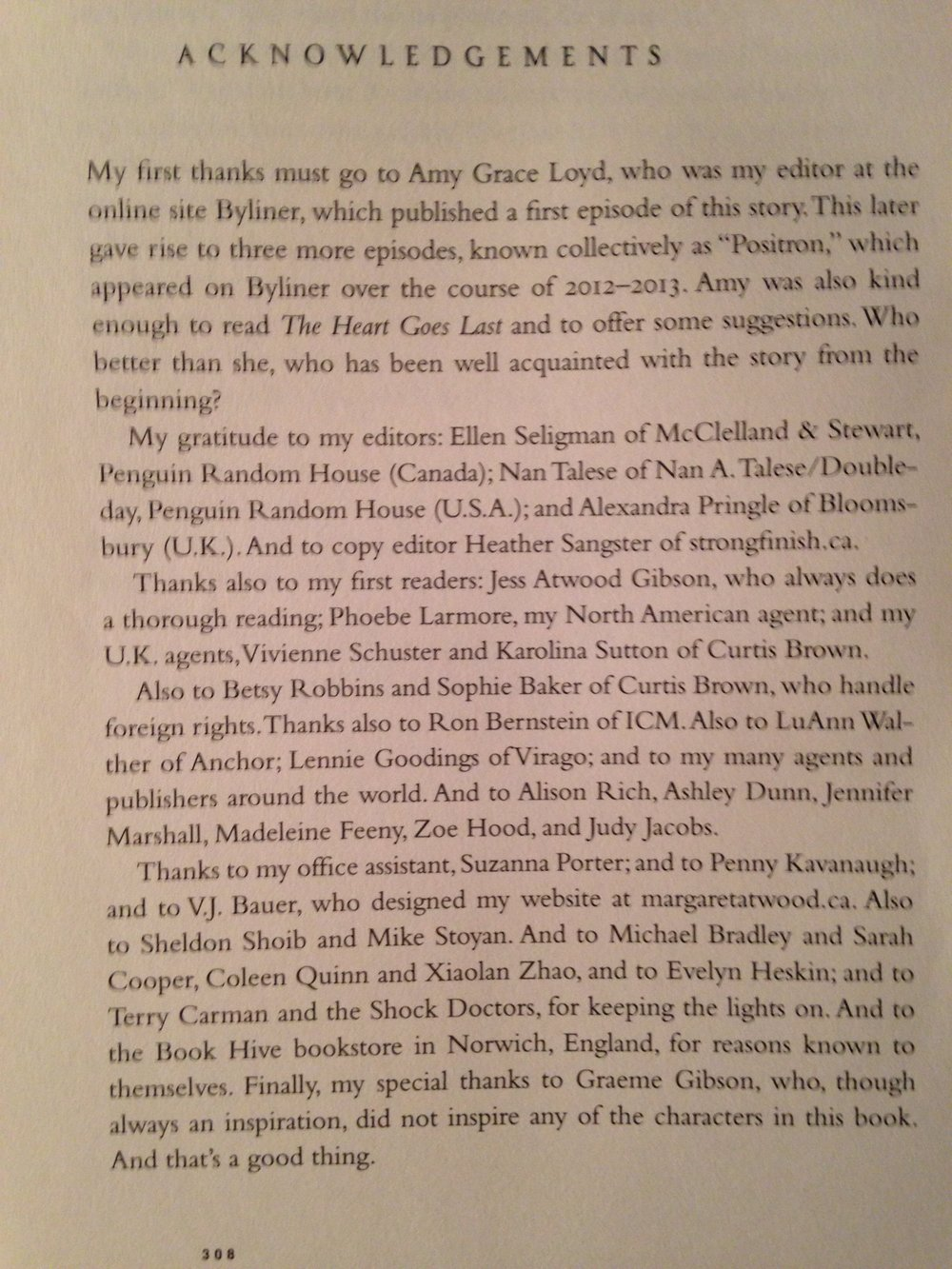 "Acknowledgements page, ""The Heart Goes Last"" by Margaret Atwood (Nan A. Talese, 2015.)"