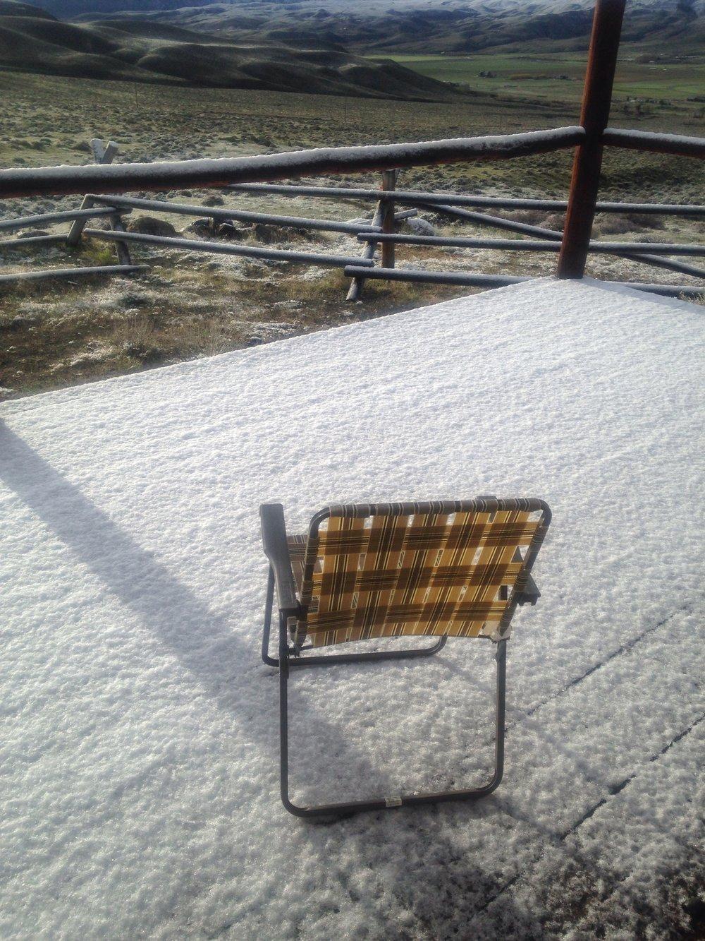 Cabin deck, Wapiti, Wyoming, 8 a .m., April 26, 2017.