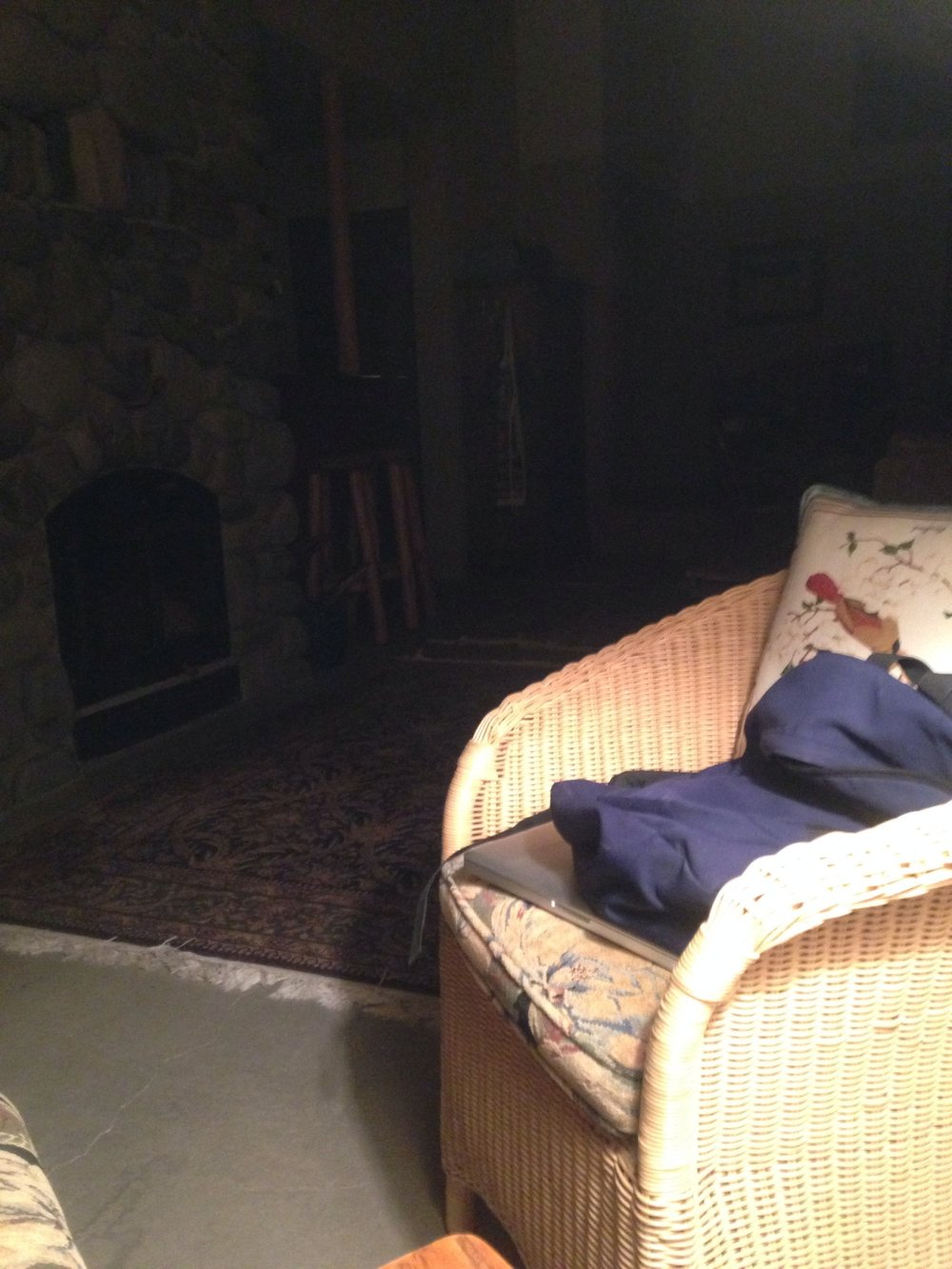 Chair in cabin, 2 a.m., Wapiti, Wyoming, May 4, 2017.