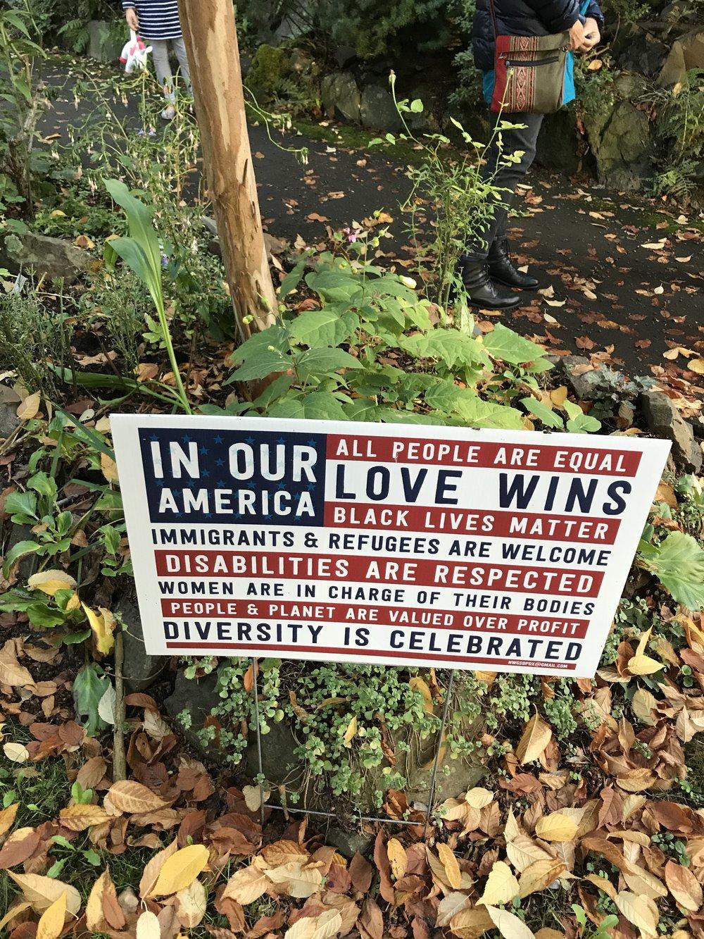 Yard sign, Kerns neighborhood, Portland, Oregon, Oct. 1, 2017.
