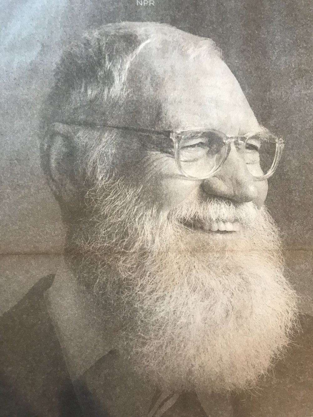 David Letterman, tv personality, retired to grow a beard and return as a tv personality with a beard, from a full pg. ad in The New York Times promoting a new David Letterman television show, August 8, 2018.