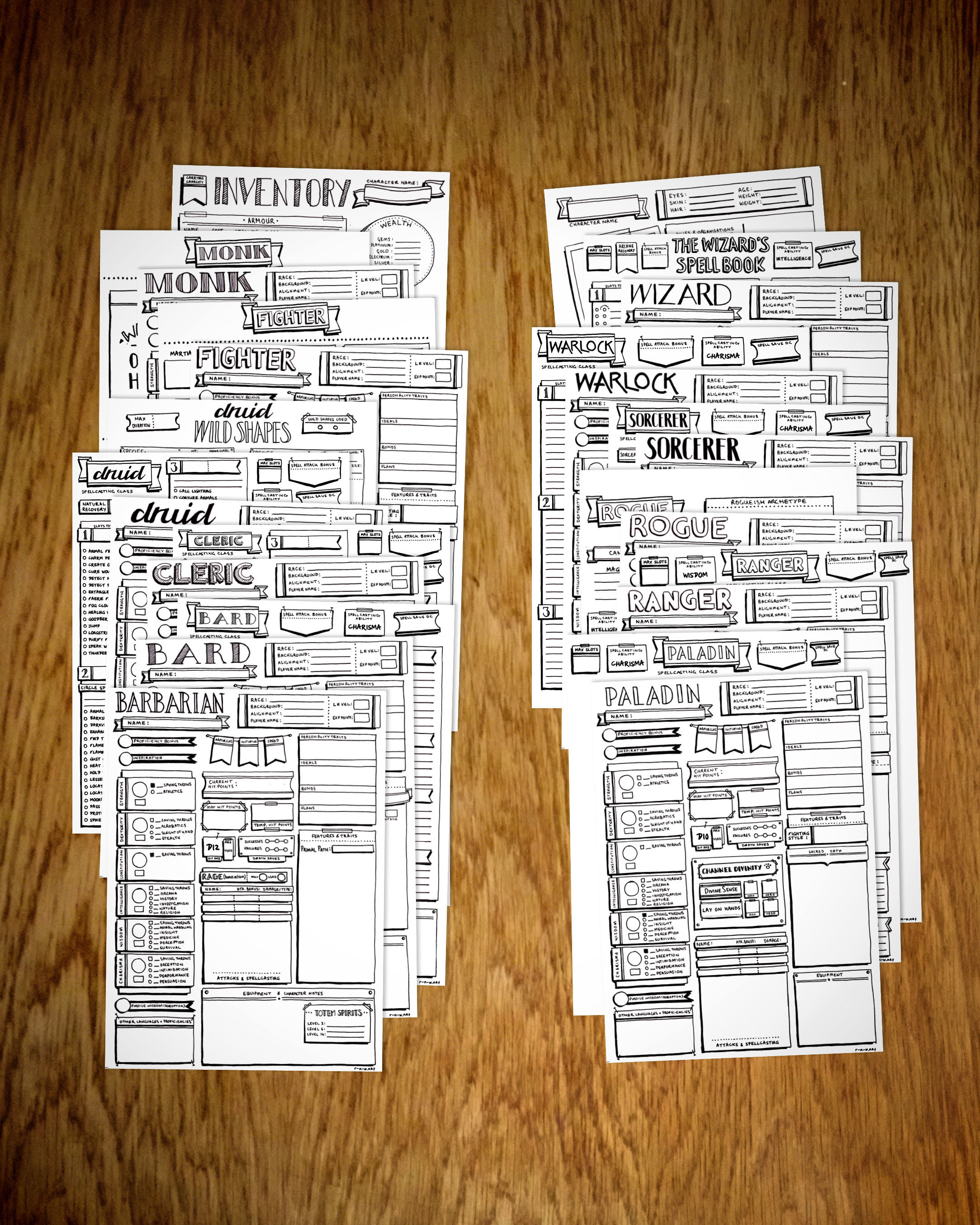 picture regarding Pathfinder Printable Spell List titled Extensive Fastened of 12 Cl-Personal Identity Sheets - Clic Structure r-n-w