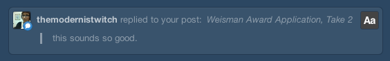 Thanks! I'm sort of a ball of nervous energy right now, so this totally makes me feel better.