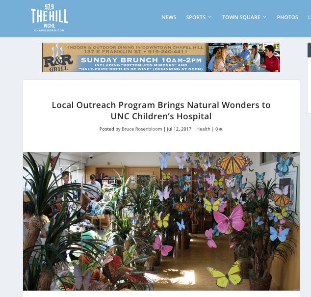 - WCHL/Chapelboro July 2017http://chapelboro.com/news/health/local-outreach-program-brings-natural-wonders-unc-childrens-hospital
