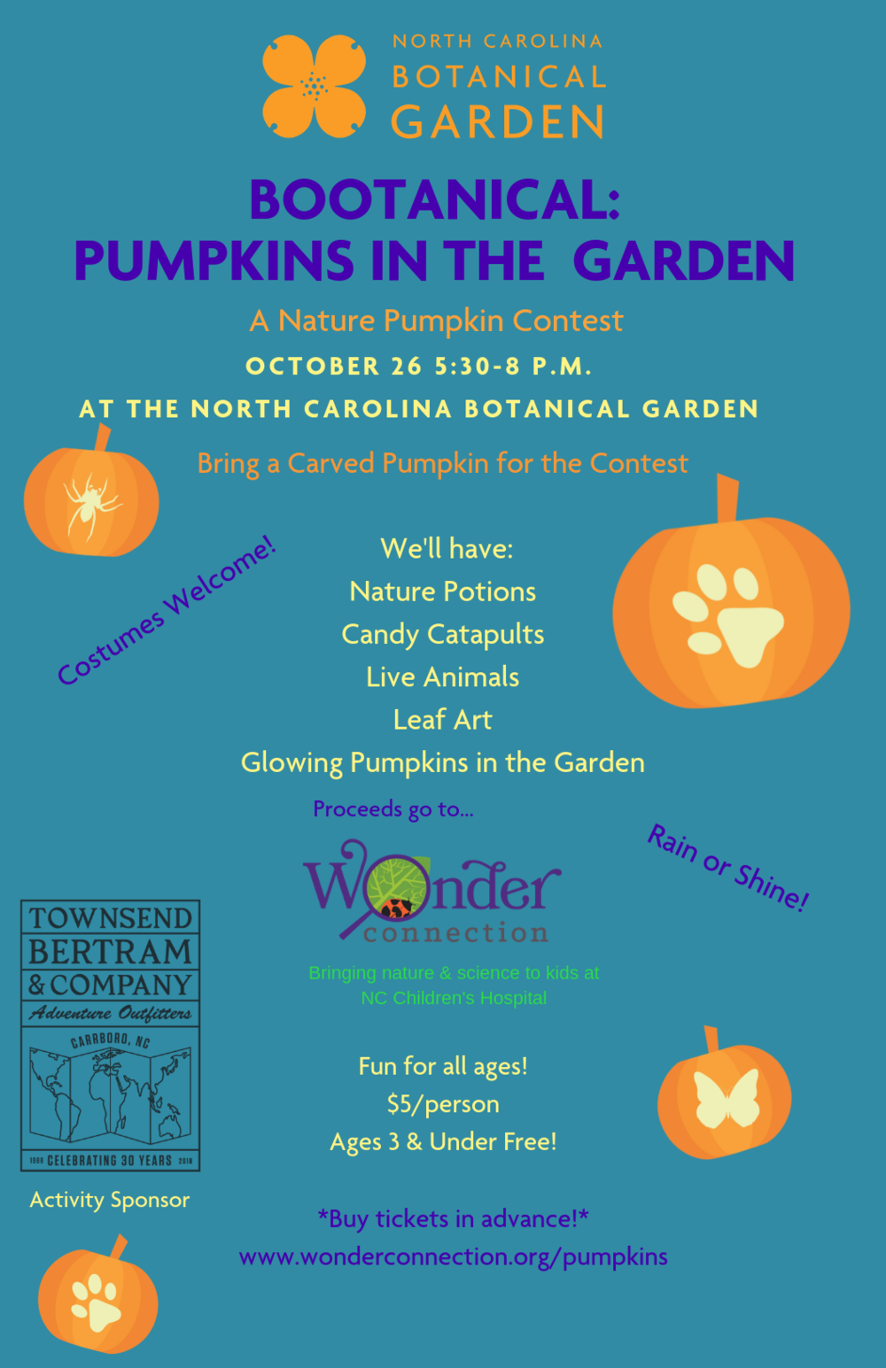 Bring a Nature-Themed Jackolantern for the Contest! - Natural PotionsLeaf Art with pressed leavesCandy catapults & Ghost Robots from Durham AcademyLIVE animals from the Piedmont Wildlife CenterSculpture scavenger huntToddler cornerCupcakes for everyone at 7:25pm; & fancy ribbons for pumpkin contest winners.Feel free to pack a picnic or order delivery! :)