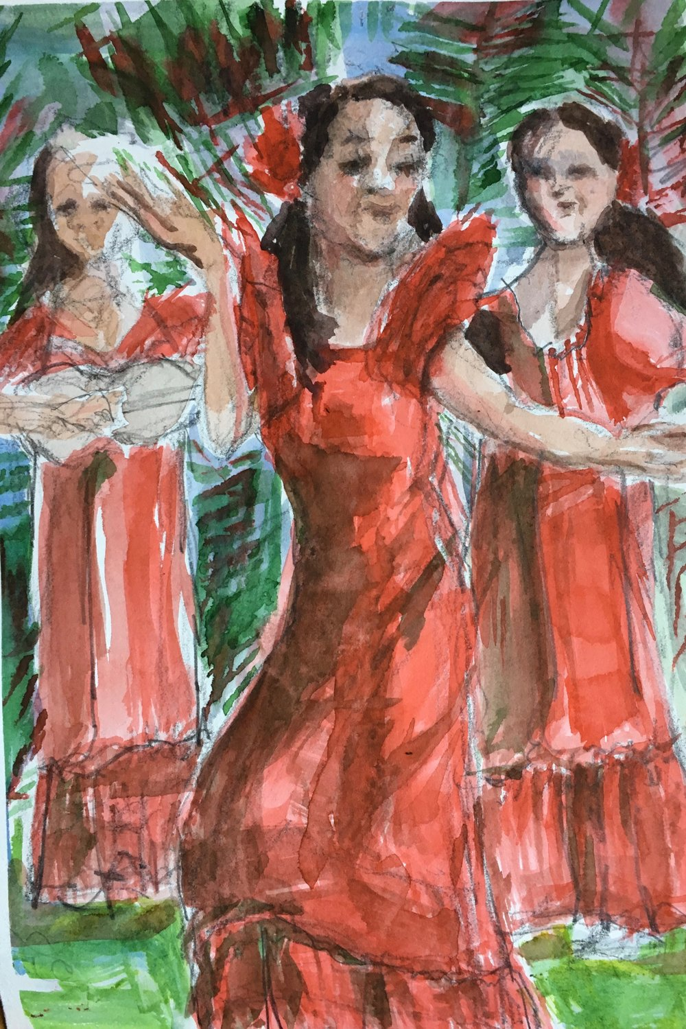 Red Hula Dancers