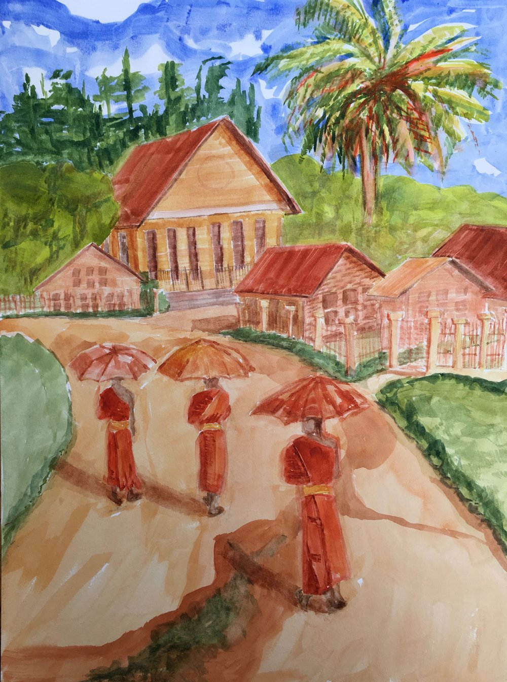 "Three Travelers. Chiang Rai  18"" x 24"""