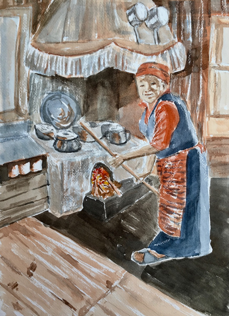 "Lakpa Dorje's Cook Stove, Lukla, Nepal  11""x15"""