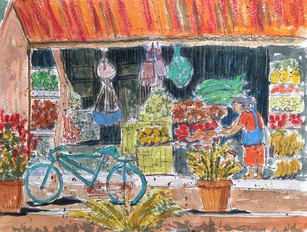 "Village Fruit Stand, Nicaragua . 11""x15"""