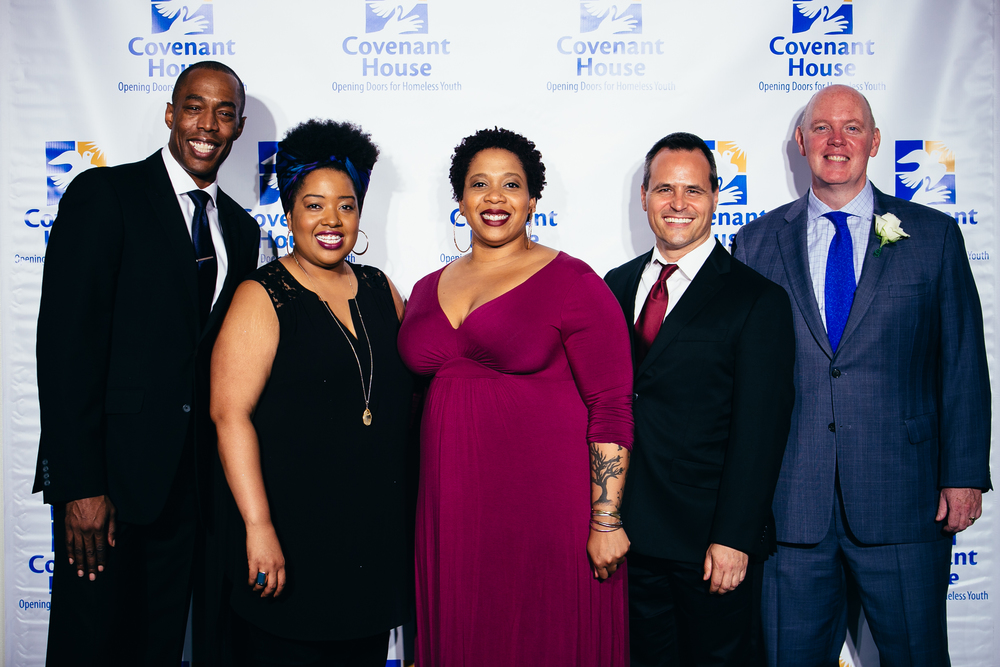 Michael McElroy, Celisse Henderson, Crystal Monee Hall, Chris Dilley, Kevin Ryan (Covenant House President)  Photography by: Othello Banaci