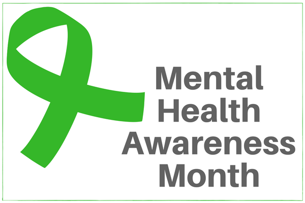 """A green ribbon next to the text """"Mental Health Awareness Month"""" - Used courtesy of Caminar.org"""