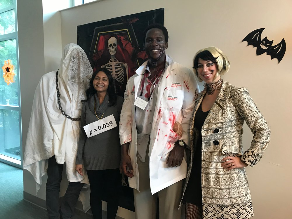 Costumed CBN faculty: Dr. Aaron Heller, Dr. Lucina Uddin, Dr. Roger McIntosh, Dr. Liz Losin.