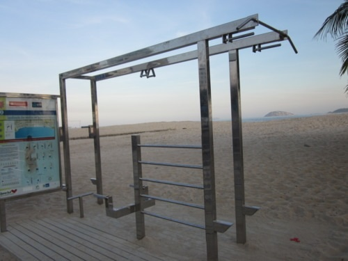 Outdoor exercise station on Copacabana beach