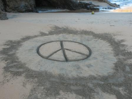 Peace sign, Oaxaca, Mexico