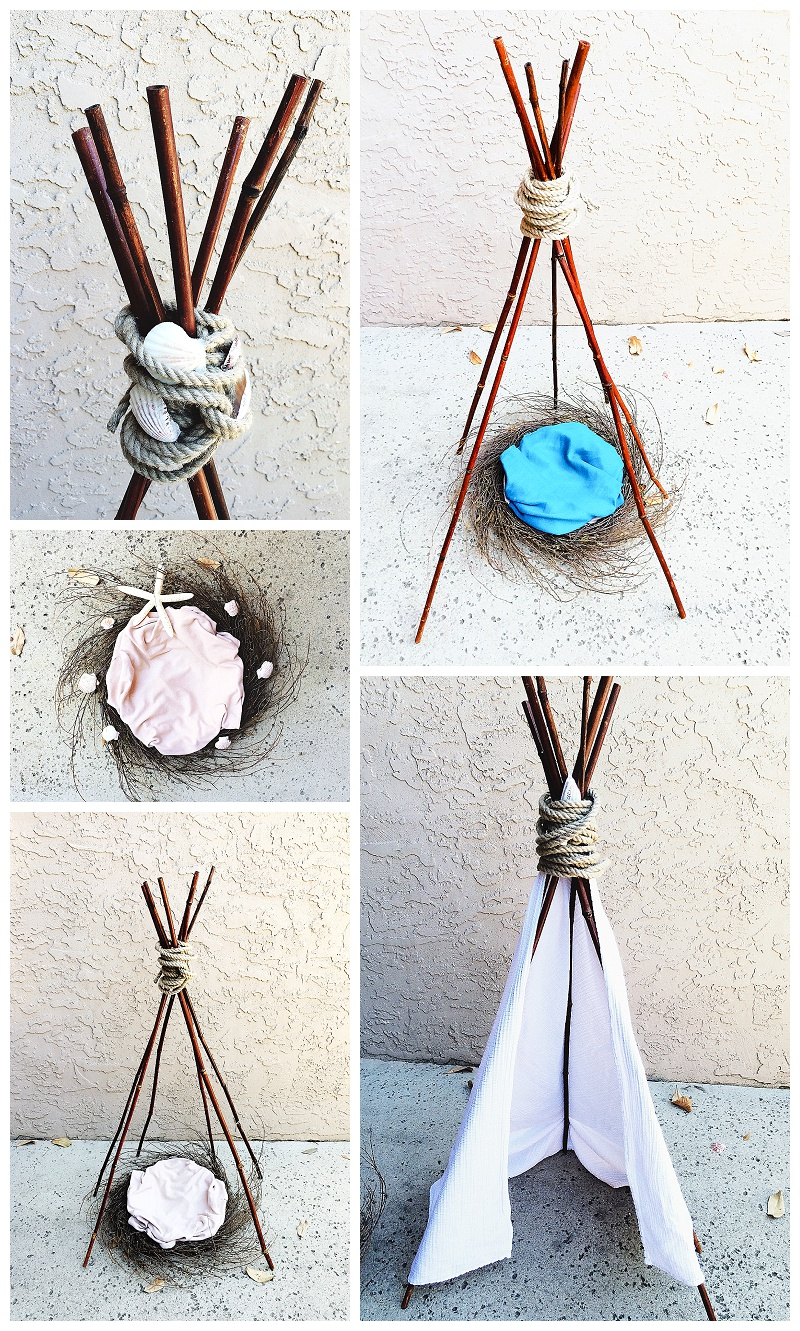 Newborn DIY Tepee & Bird Nest Prop ©Tanya Lynn, Belly Glow Photography 2015