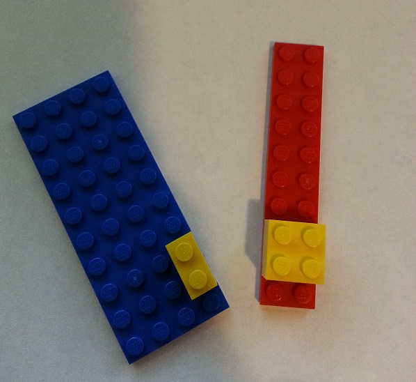 "Intuitive approach to solving ""Probability of yellow given red"" with Lego."