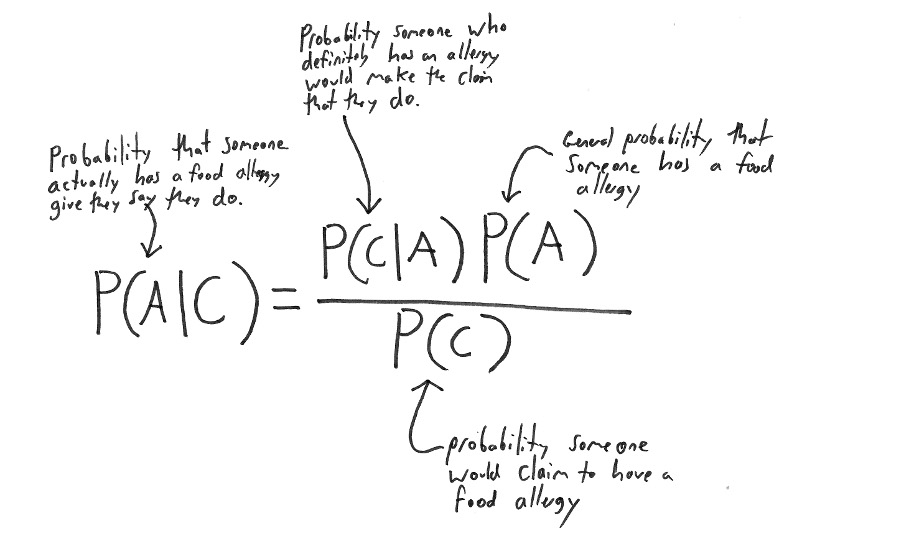 What all the terms in Bayes' Theorem mean for our example