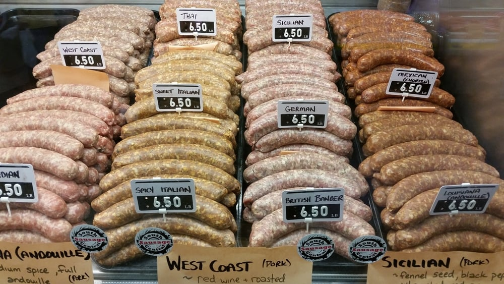 A selection of fine SCS sausages at Kitchener Farmers' Market.