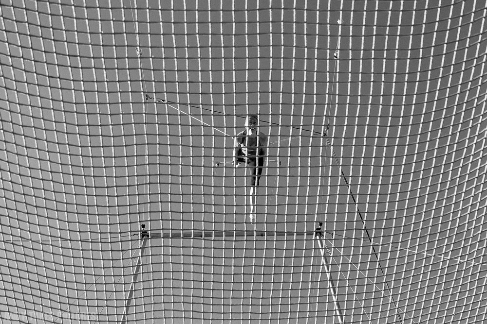 A photograph of a trapeze swinger in mid swing from under the net looking up at her. She is in the middle of the frame and the frame is filled with the net from the rigging